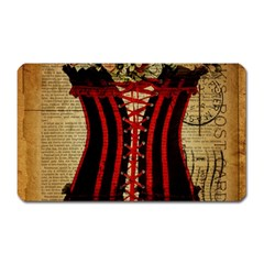 Black Red Corset Vintage Lily Floral Shabby Chic French Art Magnet (rectangular) by chicelegantboutique