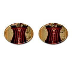 Black Red Corset Vintage Lily Floral Shabby Chic French Art Cufflinks (oval) by chicelegantboutique