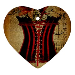 Black Red Corset Vintage Lily Floral Shabby Chic French Art Heart Ornament (two Sides) by chicelegantboutique