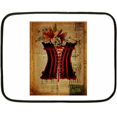 Black Red Corset Vintage Lily Floral Shabby Chic French Art Mini Fleece Blanket (two Sided) by chicelegantboutique