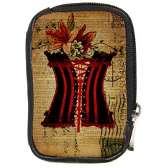 Black Red Corset Vintage Lily Floral Shabby Chic French Art Compact Camera Leather Case by chicelegantboutique