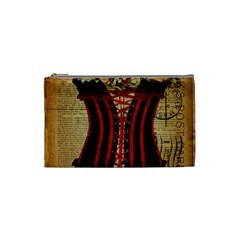 Black Red Corset Vintage Lily Floral Shabby Chic French Art Cosmetic Bag (small) by chicelegantboutique