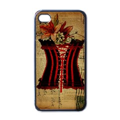 Black Red Corset Vintage Lily Floral Shabby Chic French Art Apple Iphone 4 Case (black) by chicelegantboutique