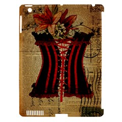 Black Red Corset Vintage Lily Floral Shabby Chic French Art Apple Ipad 3/4 Hardshell Case (compatible With Smart Cover) by chicelegantboutique