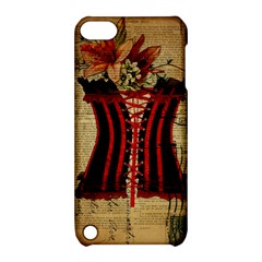 Black Red Corset Vintage Lily Floral Shabby Chic French Art Apple Ipod Touch 5 Hardshell Case With Stand by chicelegantboutique