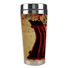 Black Red Corset Vintage Lily Floral Shabby Chic French Art Stainless Steel Travel Tumbler by chicelegantboutique