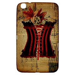 Black Red Corset Vintage Lily Floral Shabby Chic French Art Samsung Galaxy Tab 3 (8 ) T3100 Hardshell Case  by chicelegantboutique