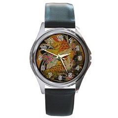 Funky Japanese Tattoo Koi Fish Graphic Art Round Metal Watch (silver Rim) by chicelegantboutique