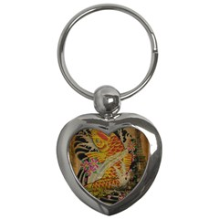 Funky Japanese Tattoo Koi Fish Graphic Art Key Chain (heart) by chicelegantboutique