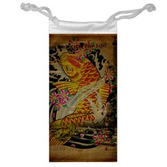 Funky Japanese Tattoo Koi Fish Graphic Art Jewelry Bag by chicelegantboutique