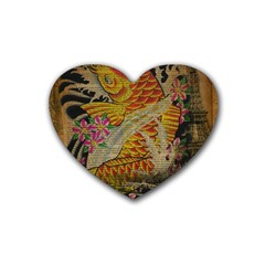 Funky Japanese Tattoo Koi Fish Graphic Art Drink Coasters (heart) by chicelegantboutique