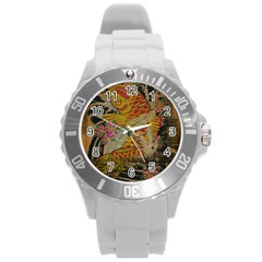 Funky Japanese Tattoo Koi Fish Graphic Art Plastic Sport Watch (large) by chicelegantboutique