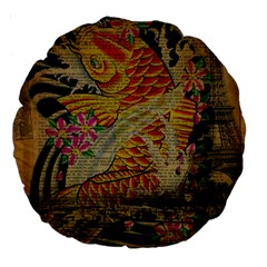 Funky Japanese Tattoo Koi Fish Graphic Art 18  Premium Round Cushion  by chicelegantboutique