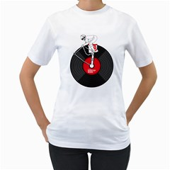 Disc Jockey Womens  T-shirt (White) by Contest1732468