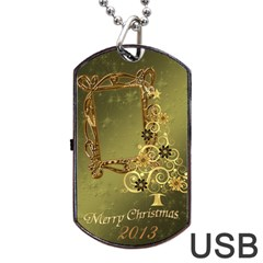 Merry Christmas Swirl 2013 Dog Tag Usb Flash 2 Sides By Ellan   Dog Tag Usb Flash (two Sides)   F8uwbq5ipkc3   Www Artscow Com Front