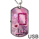 Pink Love Dog Tag usb Flash 2 sides - Dog Tag USB Flash (Two Sides)