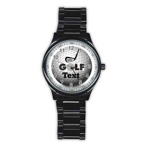 Golfer s Stainless Steel Watch By Joy Johns   Stainless Steel Round Watch   Kdrbli3m3gee   Www Artscow Com Front