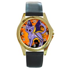 Serukivampirecat Round Metal Watch (gold Rim)  by Kittichu