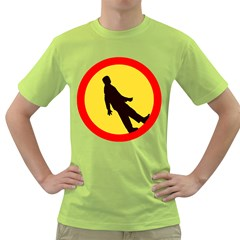Walking Traffic Sign Mens  T Shirt (green) by youshidesign
