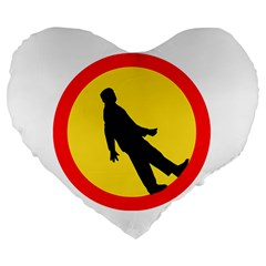 Walking Traffic Sign 19  Premium Heart Shape Cushion by youshidesign