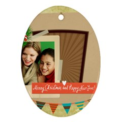 Merry Christmas By Merry Christmas   Oval Ornament (two Sides)   Tul98juoehf8   Www Artscow Com Front