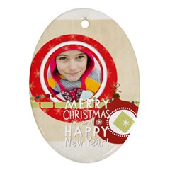 Merry Christmas By Merry Christmas   Oval Ornament (two Sides)   Xfkic7rg8uwe   Www Artscow Com Front