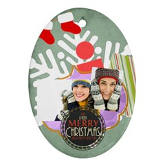 Merry Christmas By Merry Christmas   Oval Ornament (two Sides)   Ccnpsirhy1h4   Www Artscow Com Back