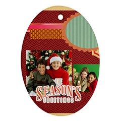 Merry Christmas By Merry Christmas   Oval Ornament (two Sides)   Bugt1be4jqnr   Www Artscow Com Back