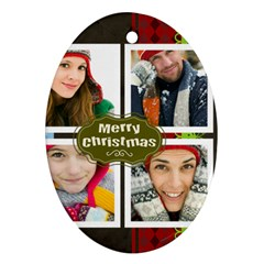 Merry Christmas By Merry Christmas   Oval Ornament (two Sides)   Pmpt0oprqvdn   Www Artscow Com Front
