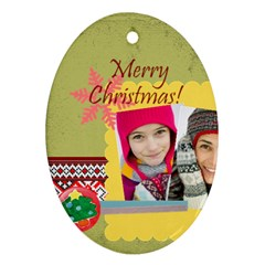 Merry Christmas By Merry Christmas   Oval Ornament (two Sides)   Joki6dhgocxg   Www Artscow Com Front