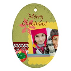Merry Christmas By Merry Christmas   Oval Ornament (two Sides)   Joki6dhgocxg   Www Artscow Com Back