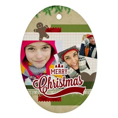 Merry Christmas By Merry Christmas   Oval Ornament (two Sides)   Ysse3mul42en   Www Artscow Com Back