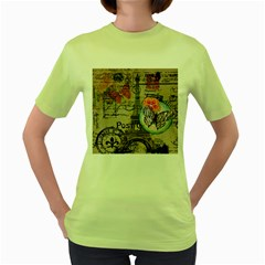 Floral Scripts Butterfly Eiffel Tower Vintage Paris Fashion Womens  T Shirt (green) by chicelegantboutique