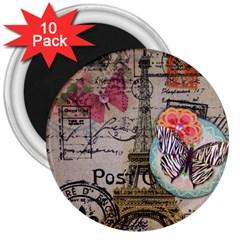 Floral Scripts Butterfly Eiffel Tower Vintage Paris Fashion 3  Button Magnet (10 Pack) by chicelegantboutique