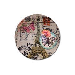 Floral Scripts Butterfly Eiffel Tower Vintage Paris Fashion Magnet 3  (round) by chicelegantboutique
