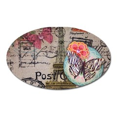 Floral Scripts Butterfly Eiffel Tower Vintage Paris Fashion Magnet (oval) by chicelegantboutique