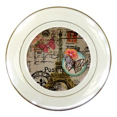 Floral Scripts Butterfly Eiffel Tower Vintage Paris Fashion Porcelain Display Plate by chicelegantboutique