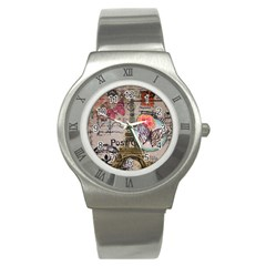 Floral Scripts Butterfly Eiffel Tower Vintage Paris Fashion Stainless Steel Watch (unisex) by chicelegantboutique