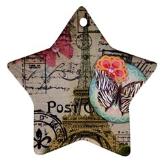 Floral Scripts Butterfly Eiffel Tower Vintage Paris Fashion Star Ornament (two Sides) by chicelegantboutique