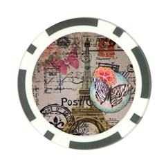 Floral Scripts Butterfly Eiffel Tower Vintage Paris Fashion Poker Chip by chicelegantboutique