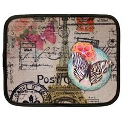 Floral Scripts Butterfly Eiffel Tower Vintage Paris Fashion Netbook Case (xxl) by chicelegantboutique