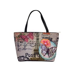 Floral Scripts Butterfly Eiffel Tower Vintage Paris Fashion Large Shoulder Bag by chicelegantboutique
