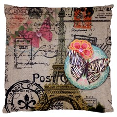 Floral Scripts Butterfly Eiffel Tower Vintage Paris Fashion Large Cushion Case (single Sided)  by chicelegantboutique