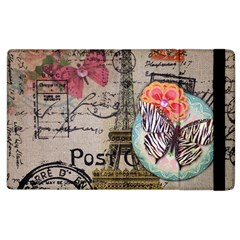 Floral Scripts Butterfly Eiffel Tower Vintage Paris Fashion Apple Ipad 2 Flip Case by chicelegantboutique