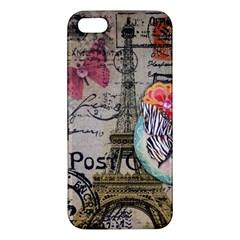Floral Scripts Butterfly Eiffel Tower Vintage Paris Fashion Iphone 5 Premium Hardshell Case by chicelegantboutique