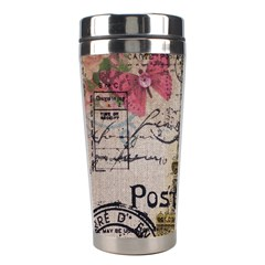 Floral Scripts Butterfly Eiffel Tower Vintage Paris Fashion Stainless Steel Travel Tumbler by chicelegantboutique