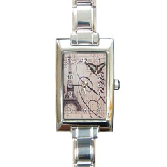 Vintage Scripts Floral Scripts Butterfly Eiffel Tower Vintage Paris Fashion Rectangular Italian Charm Watch by chicelegantboutique