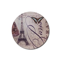 Vintage Scripts Floral Scripts Butterfly Eiffel Tower Vintage Paris Fashion Drink Coaster (Round) by chicelegantboutique
