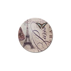 Vintage Scripts Floral Scripts Butterfly Eiffel Tower Vintage Paris Fashion Golf Ball Marker by chicelegantboutique
