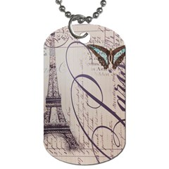 Vintage Scripts Floral Scripts Butterfly Eiffel Tower Vintage Paris Fashion Dog Tag (two Sided)  by chicelegantboutique